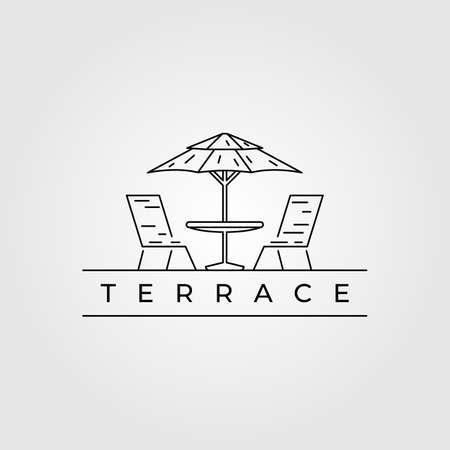 terrace line art logo icon minimalist vector illustration design