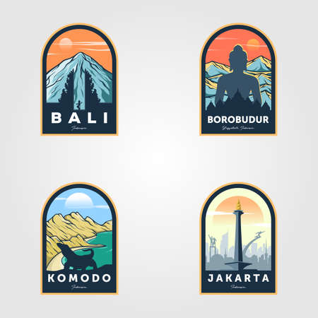 indonesian travel logo set vintage vector illustration design