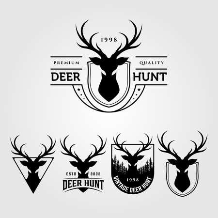 deer hunt vintage logo set vector illustration designs Illustration