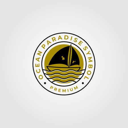 line art sailing yacht minimalist logo vector symbol illustration design