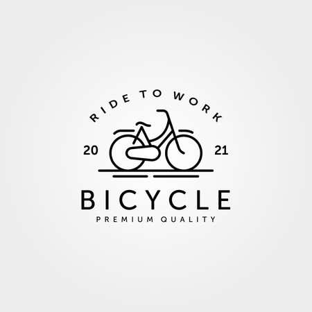 bicycle line art logo vintage minimalist symbol vector illustration design