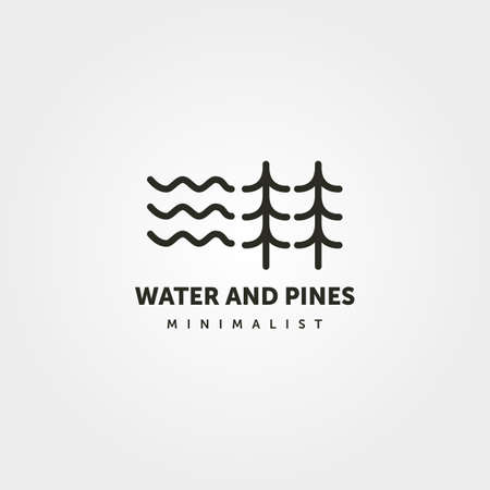 water and pine logo line art symbol vector minimalist illustration design