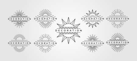 set of sun line art vector symbol minimalist decoration illustration design Illustration