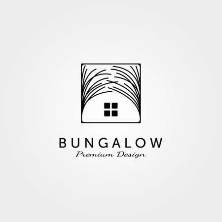 bungalow house nature logo line art vector symbol illustration design