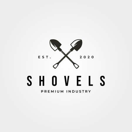vintage shovel cross logo vector symbol illustration design