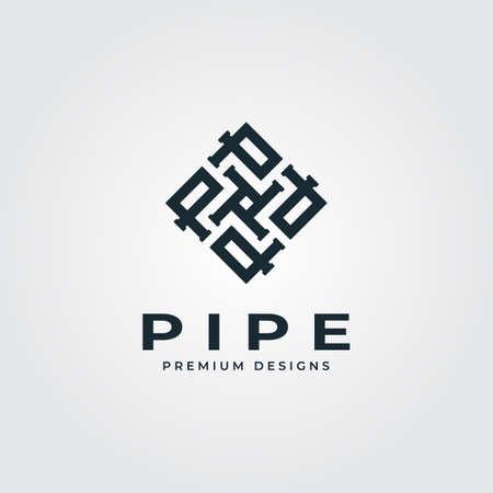 pipe square logo letter p minimalist plumber industry vector illustration design Banque d'images - 164208142