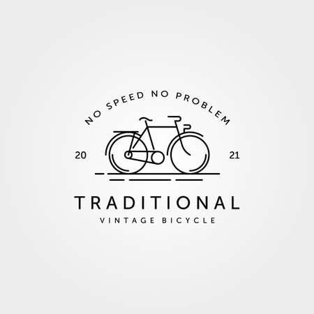 traditional bicycle bike line art logo vintage vector symbol illustration design
