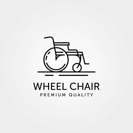 Wheel chair line art logo simple minimalist vector symbol illustration design