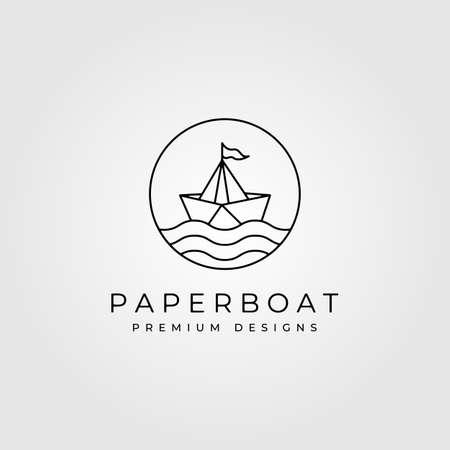 paper boat line art minimalist logo vector symbol illustration design
