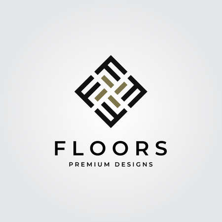 Floor logo initial letter f parquet flooring vector illustration design
