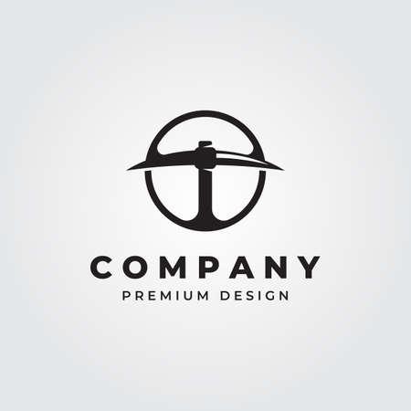 circle pickaxe vintage logo vector symbol illustration design Banque d'images