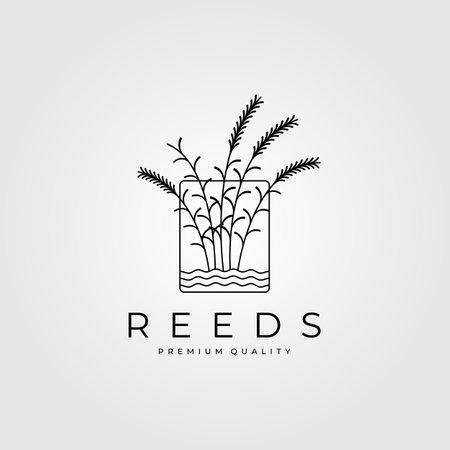 reeds minimalist logo with water vector vintage illustration design Logó