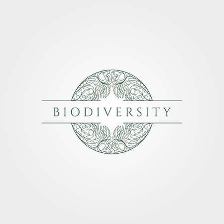 biodiversity nature line icon vector minimal illustration design