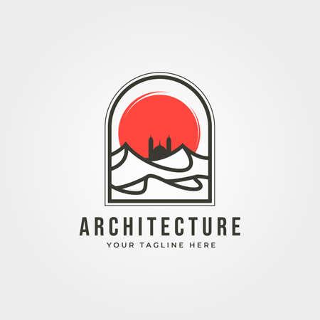 arabian desert with mosque icon  vector symbol illustration design