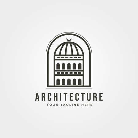 dome building architecture   vector line art minimal illustration design Illustration