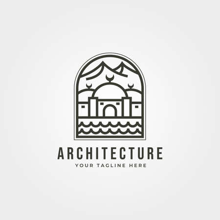 islamic landscape icon line  vector symbol minimalist illustration design Illustration