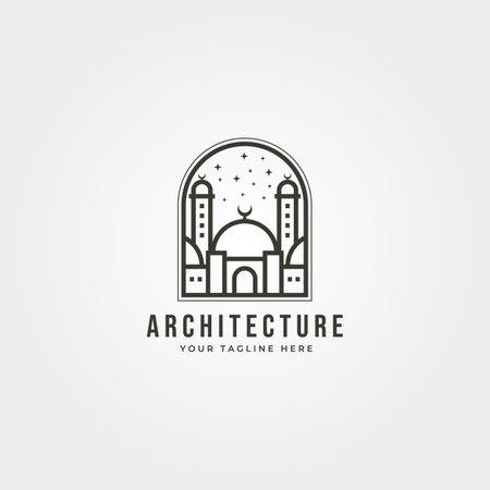 islamic  line art vector design, mosque icon   symbol vector emblem illustration design Illustration