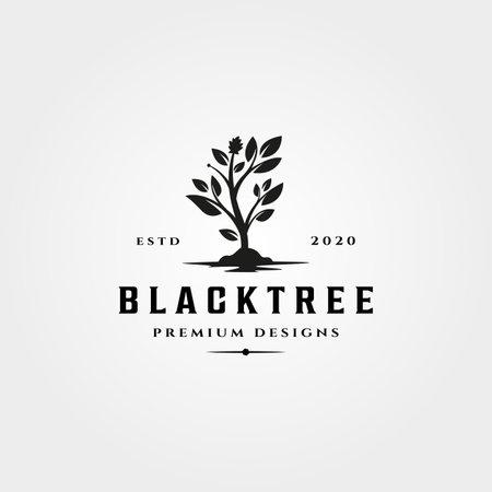 black tree icon vintage vector nature symbol illustration design Illustration