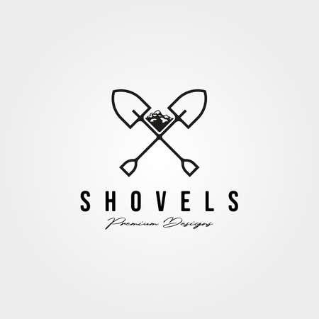 shovel cross line icon vintage minimal illustration design