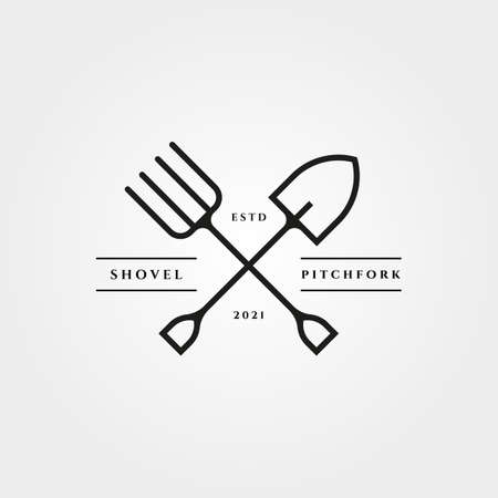 pitchfork and shovel icon vector minimalist illustration design