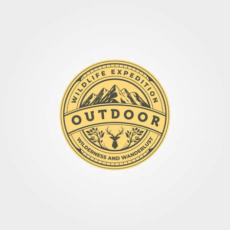 mountain outdoor icon vector emblem illustration design, adventure vintage label patch illustration design
