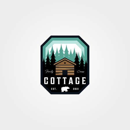 adventure cottage emblem patch vector illustration design