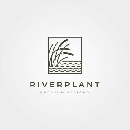 river plant cattail icon vector symbol illustration design, nature plant in square design