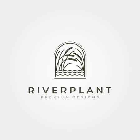 river plant reed icon vector symbol illustration design, nature plant in square design Vektoros illusztráció