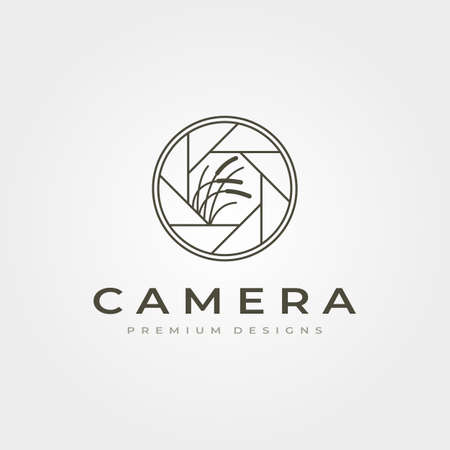 lens camera icon with nature photography vector symbol illustration design