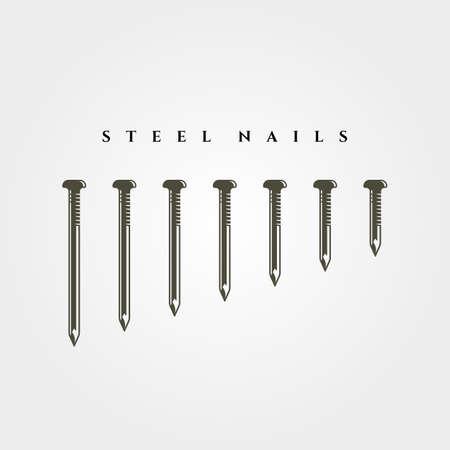 set of steel nail object isolated vector symbol illustration design Illustration