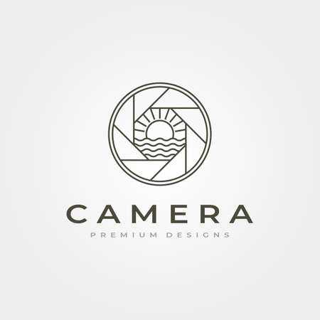 line art camera lens with ocean sunburst view vector illustration design
