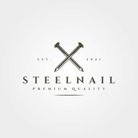 steel nail isolated icon vector vintage symbol illustration design Illustration