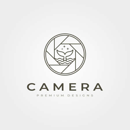 camera lens photography icon line art with whale tail vector symbol illustration design Illustration