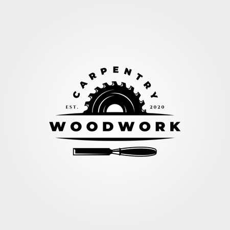 vintage carpentry woodwork vector icon symbol illustration design