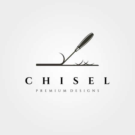 chisel vector symbol for woodwork carpentry illustration design