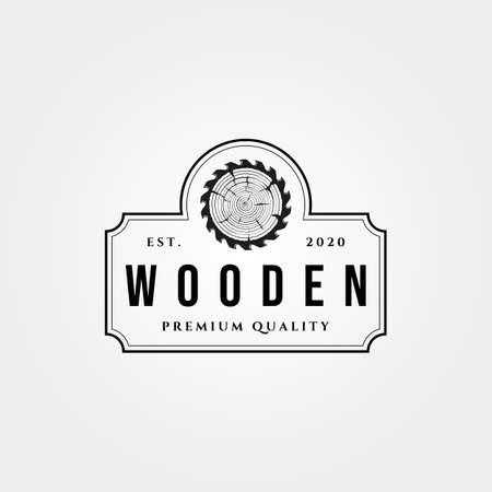 vintage wooden and saw emblem logo vector symbol illustration design