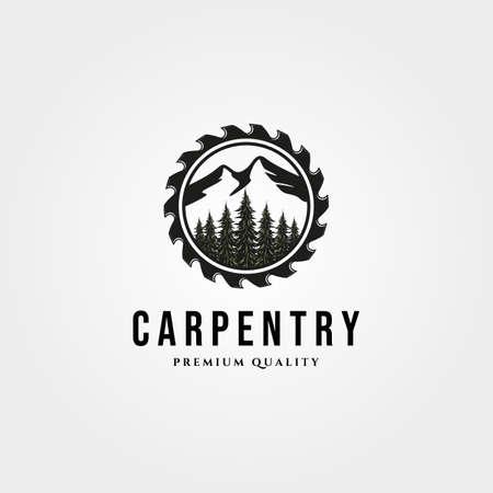 carpentry logo vintage with nature landscape and saw vector symbol illustration design