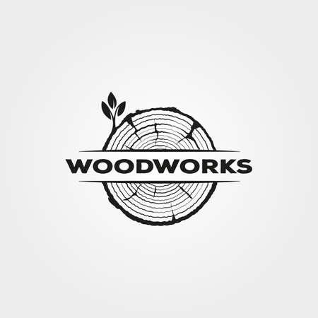 vintage wood icon logo vector symbol illustration design