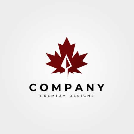 maple leaf icon logo with arrow head vector symbol illustration design