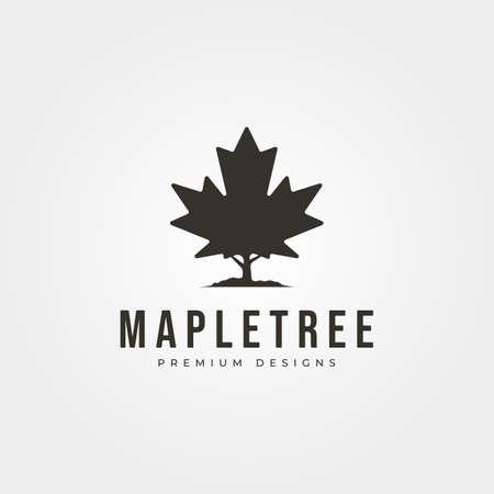 vintage maple tree icon logo vector symbol illustration design 向量圖像