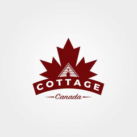 cottage with canadian maple leaf logo vintage vector illustration design 向量圖像