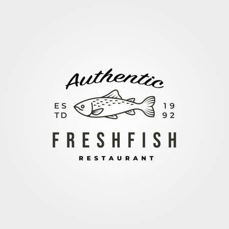 vintage fish icon logo vector minimal symbol illustration design 向量圖像