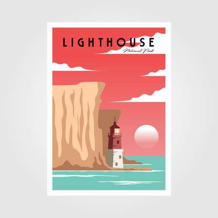 lighthouse and sea poster background vintage illustration design 向量圖像