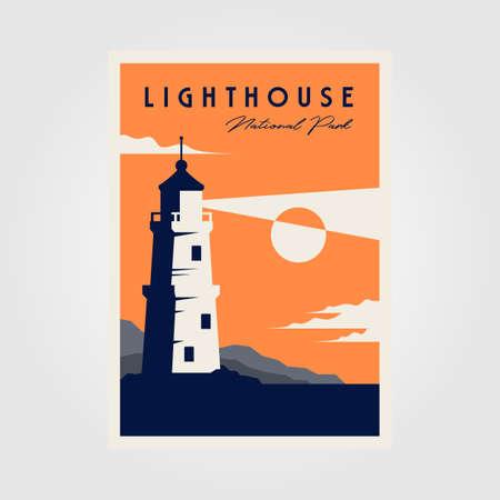 lighthouse poster background minimal vector illustration design
