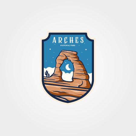 arches national park emblem logo vector sticker patch travel symbol illustration design 向量圖像