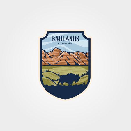 badlands national park emblem patch vintage vector illustration design, travel logo collection design 版權商用圖片 - 165122614