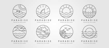 set of ocean line art logo vector minimalist design, ocean landscape icon symbol vector illustration design 向量圖像
