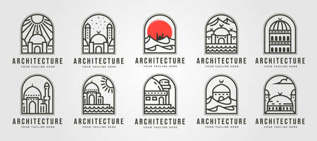 set of islamic mosque line logo vector symbol illustration design, ramadan idea vector symbol creative logo design
