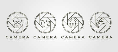 set of vector nature camera lens photography logo symbol line art illustration design