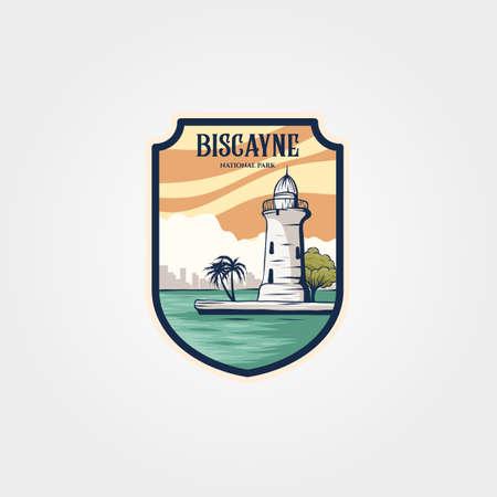 biscayne national park sticker patch logo vector symbol illustration design, lighthouse logo design
